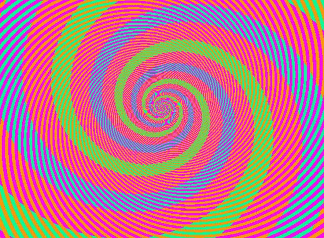 illusion optique spirale bleu vert