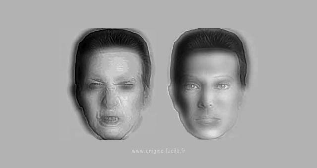 illusion optique visage gentil mechant