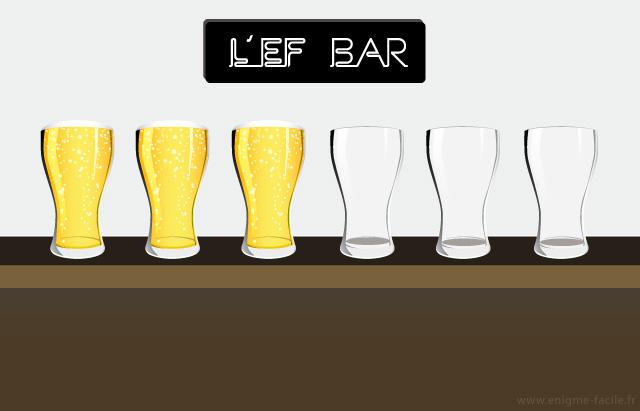 enigme 6 verres vides et pleins alterner