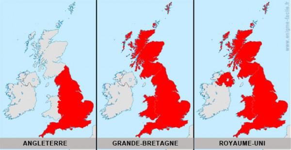 différence entre l'Angleterre, la Grande Bretagne et le Royaume-Uni