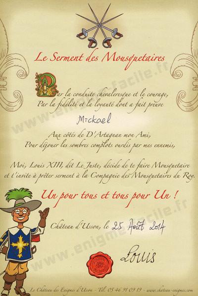 diplome du mousquetaire au Chateau des enigmes