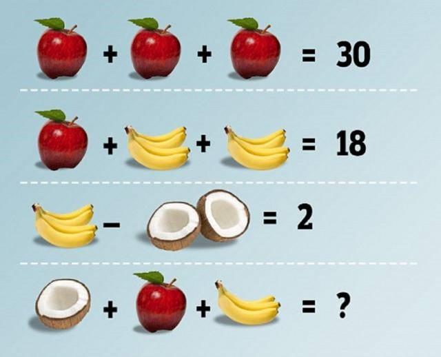 enigme pomme banane noix de coco équation solution