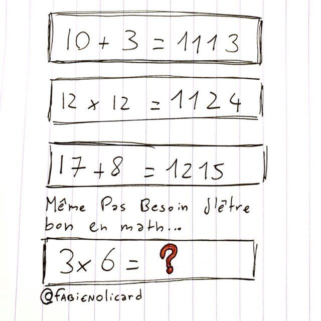 enigme olicard 10+3=1113 3x6=
