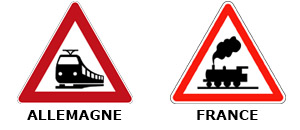 Panneau comparaison train allemagne france