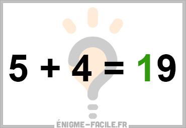 Dingbat 5 plus 4 egal 19