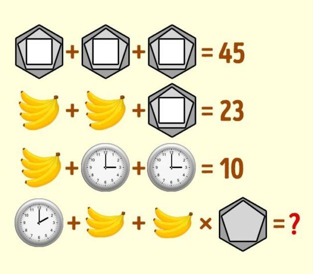 Enigme horloge banane polygone