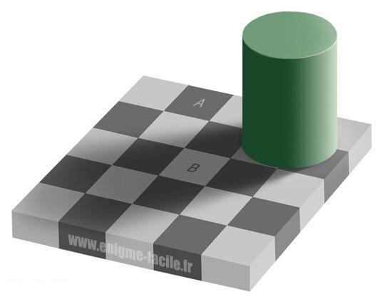 Illusion Optique Couleur illusion d'optique : le damier - enigme facile